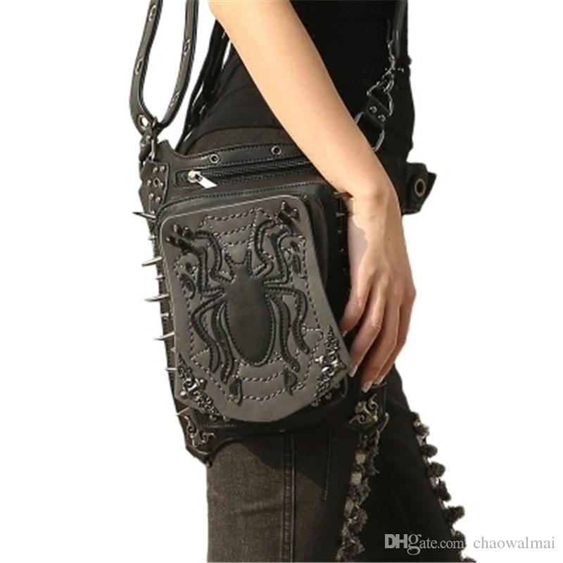 Women Gothic Retro Rock Leg Bags Steampunk Spider Waist Bag Cross Body Bag Black Leather Phone Case Holder 2017 New Fashion