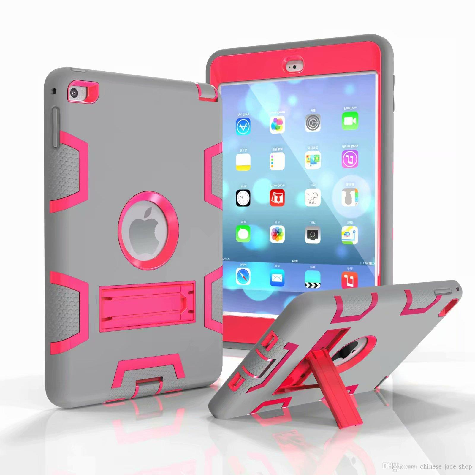 Un tipo de servicio pesado a prueba de golpes Kickstand Robot híbrido cubierta de la caja para iPad MINI 1 2 3 4 5 2019 50PCS / LOT