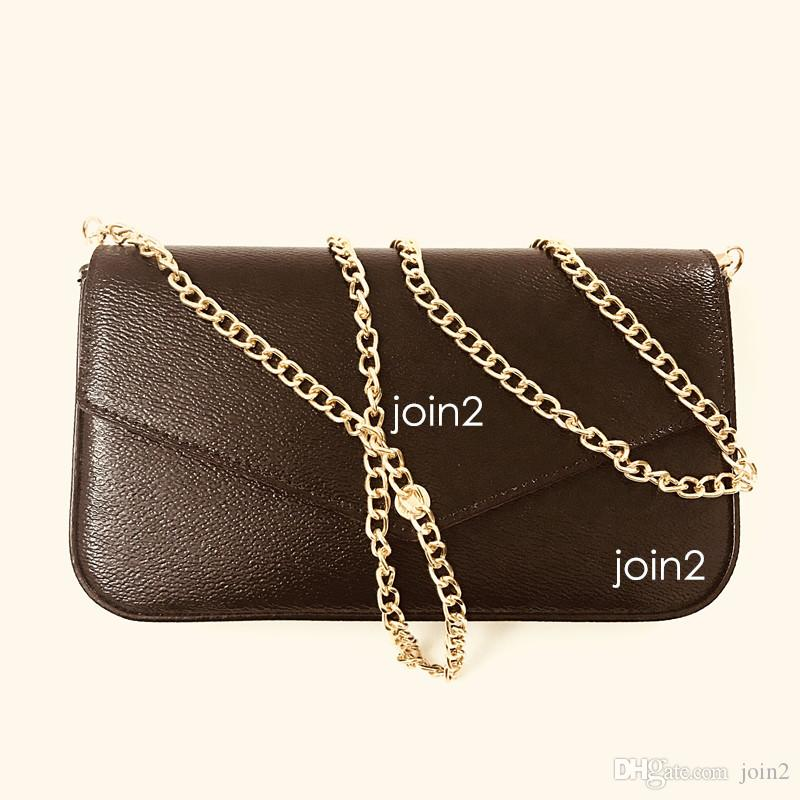 POCHETTE FELICIE, High Quality Women Fashion Stylish Chain Wallet Cross body Bag Clutch Shoulder Bag in Brown Canvas Zip Pocket Dust Bag