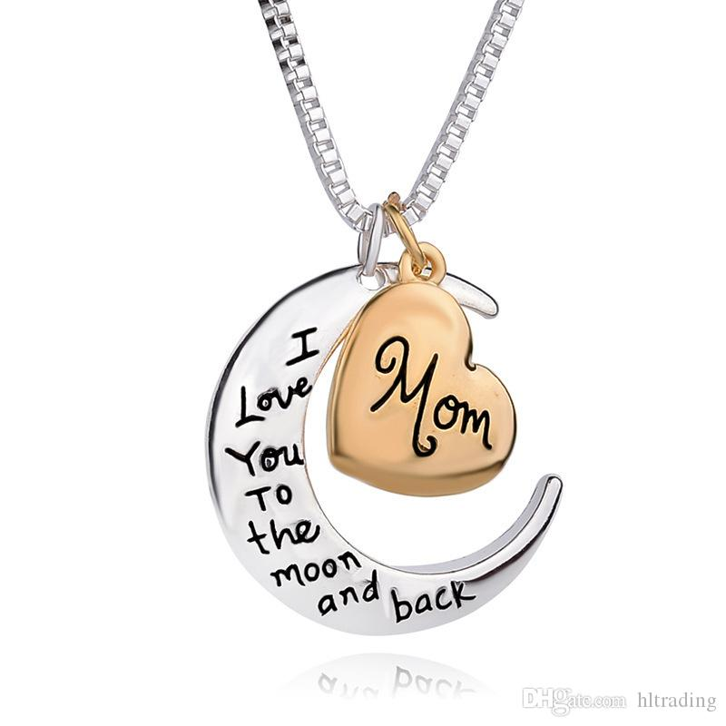 High Quality Heart Jewelry I Love You To The Moon And Back Mom Pendant Necklace Mother Day Gift Wholesale Fashion Jewelry M968