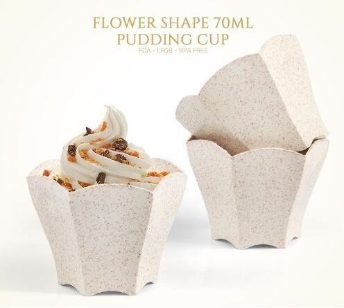 Umweltfreundliche Dessert Tassen 70ml Einweg-Dessert Cupcake Mousse Behälter kreative Blütenblatt geformt Trinkbecher Restaurant Geschirr
