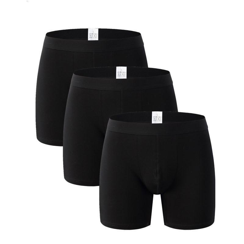 Vente chaude Cuecas 3pcs / lot Sous-vêtements Boxer Hommes Pantalons Hommes Coton Short solides en vrac Caleçon Pour Homme Caleçon Homme long LegMX190904