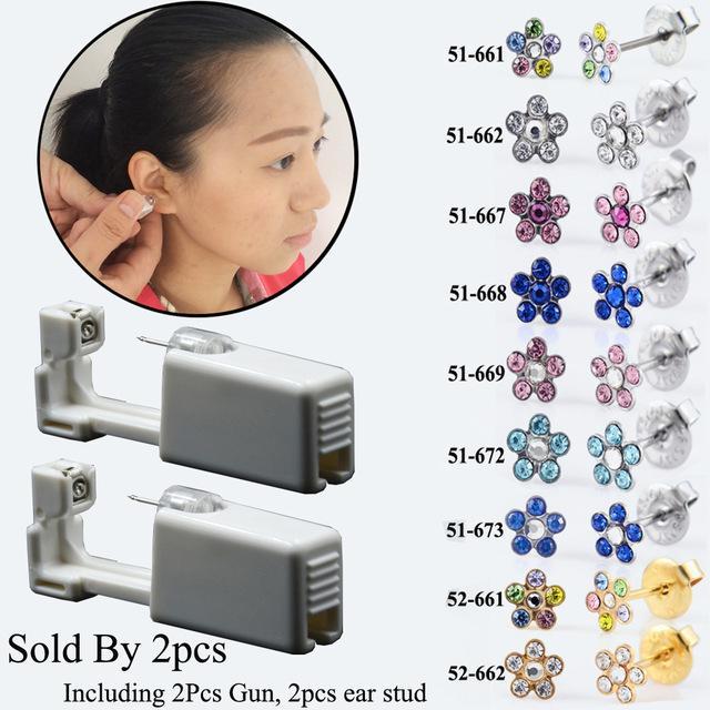heap Stud Earrings PAIR Disposable Device Machine Tools Piercing NO PAIN Safety Sterlised Easy Ear Piercer Sterile Bezel Dasiy Flower Ear...