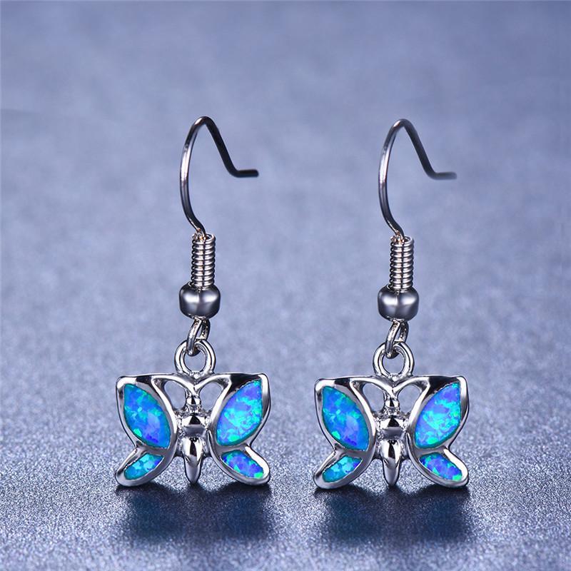 Female Butterfly Drop Earrings Blue Fire Opal Earrings Bride Wedding Long Dangle Animal Earrings For Women