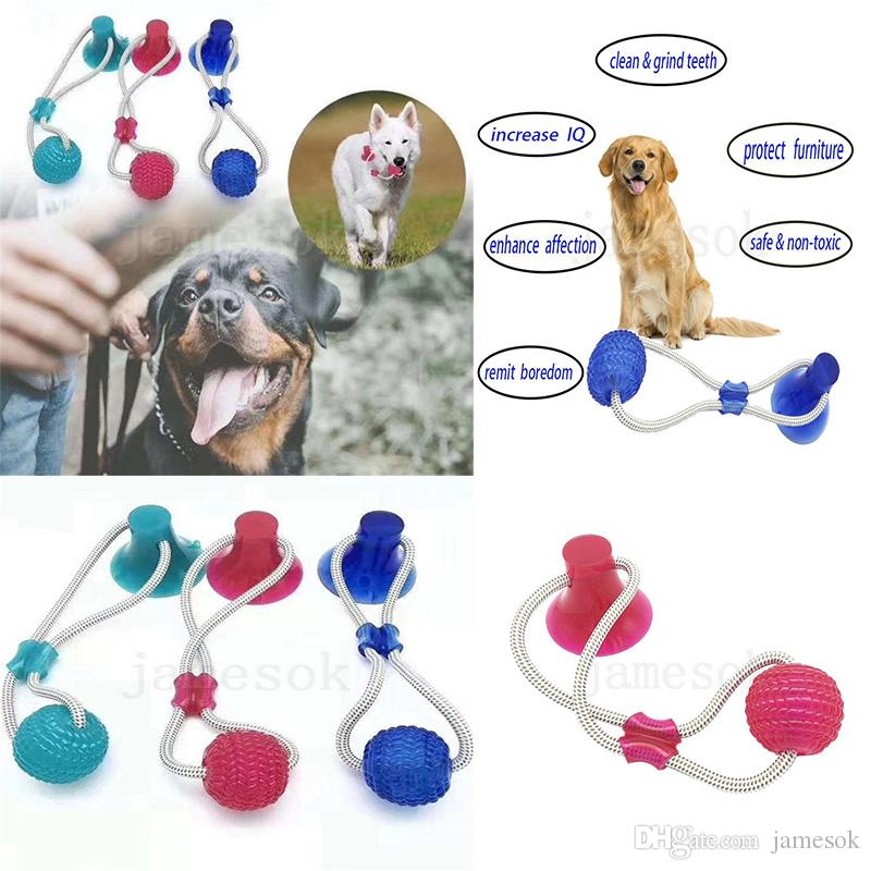 3 Colors Pet Molar Bite Toy Multifunction Dog Biting Toys Rubber Chew Ball Cleaning Teeth Safe Elasticity Soft Dental Care Suction Cup da183