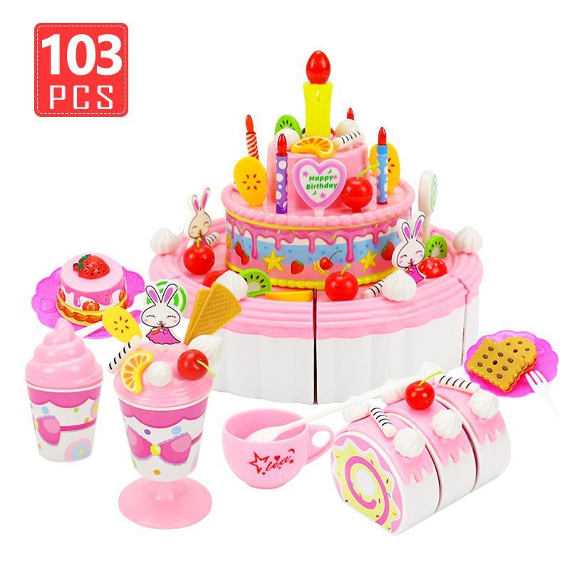 Terrific 2020 39 Cartoon Birthday Cake Pretend Play Kitchen Toys Fruit Funny Birthday Cards Online Drosicarndamsfinfo