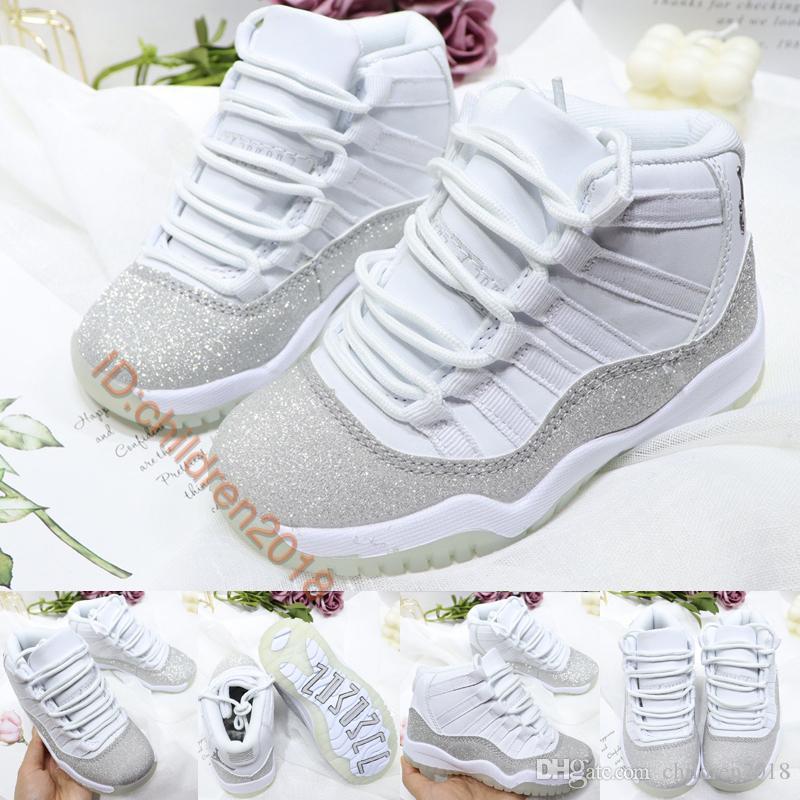 최고 11 11S 화이트 메탈릭 실버 키즈 농구 신발 2020 디자인 소년 소녀의 babys 스니커즈 클래식 야외 어린이 운동화 크기 28-35