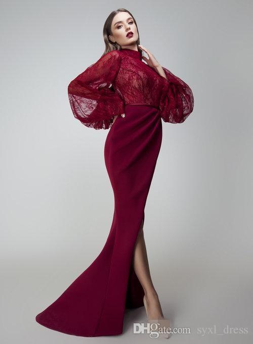 Yousef Aljasmi Bordo Mermaid Gelinlik ile Uzun Kollu Yan Bölünmüş Arapça Abiye giyim Kat Uzunluk Örgün Elbise