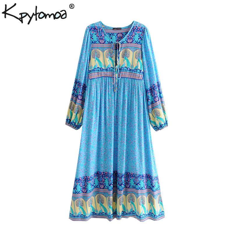 Boho Chic Summer Vintage Floral Peacock Print Midi Dress Women 2019 Fashion Lantern Sleeve Pleated Beach Dresses Vestidos Mujer Y19073101