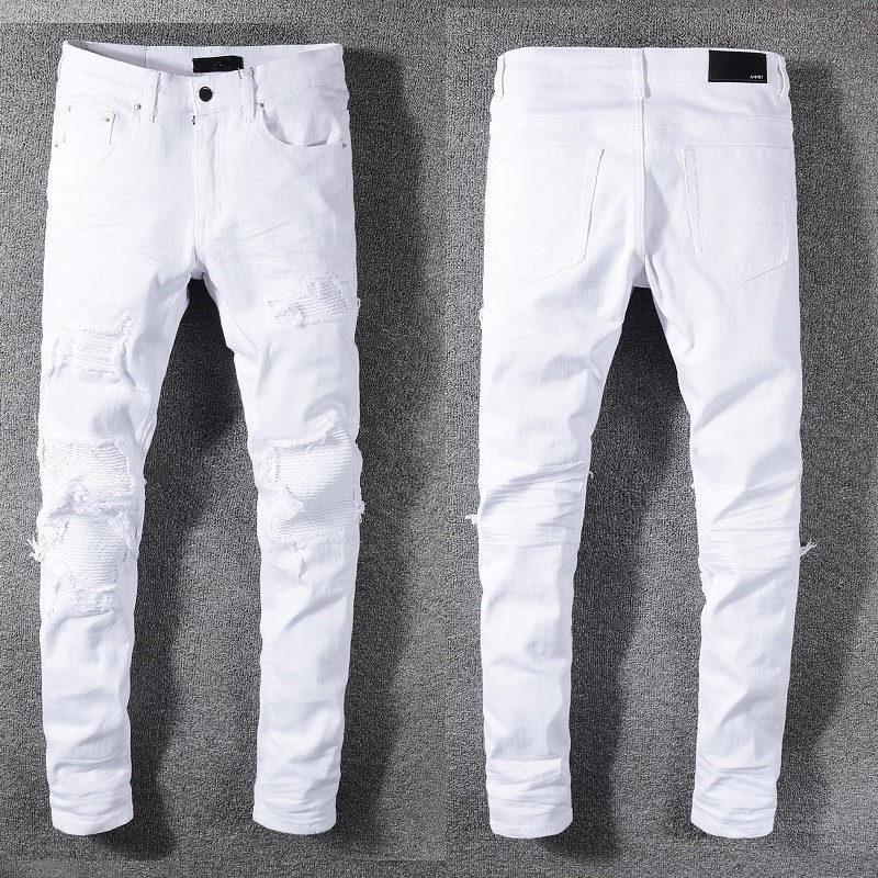 Новая мода Мужчины Проблемные рваные джинсы Байкер Slim Fit Мотоцикл Байкер джинсовой мужчин Дизайнерские джинсы хип-хоп мужские джинсы хорошего качества