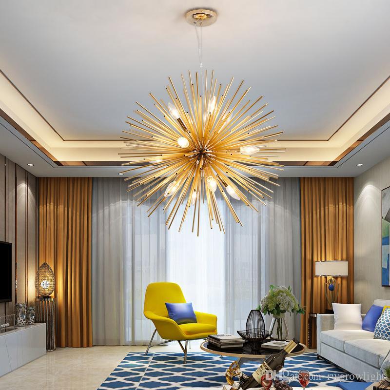 Nordic artístico del aluminio de diente de león de la lámpara de oro que cuelgan lámparas decorativas luz LED, luces Inicio - RW03