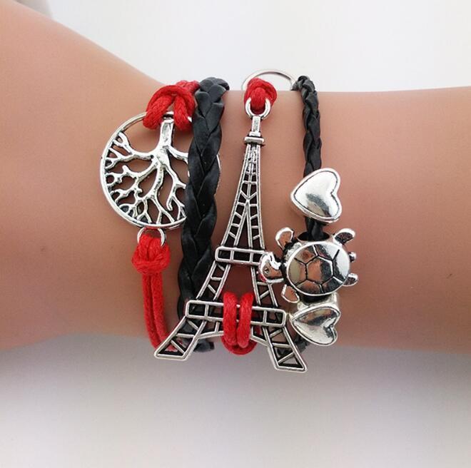 Multi Couche Bracelets Bohême Tour Eiffel Bracelets Grand Arbre AMOUR Tissé Bracelets Bijoux De Mode Cire Ligne Hommes Femme Charme Accessoires