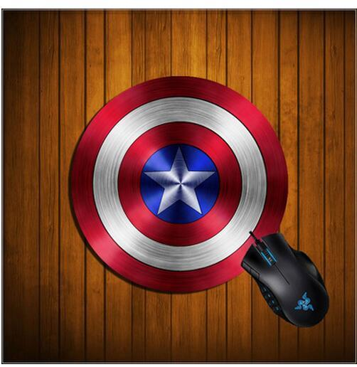 20CM Round Mouse Pad Captain America Shield Mouse Pad 200mm 3mm Mousepad Natural Rubber Mat Round Flat Lifelike Printing Gaming Mouse Pads
