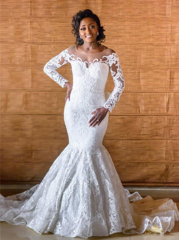 Vestido de casamento da sereia de mangas longas africanas vintage com trem destacável luxo fora do ombro lace applique plus tamanho vestido nupcial