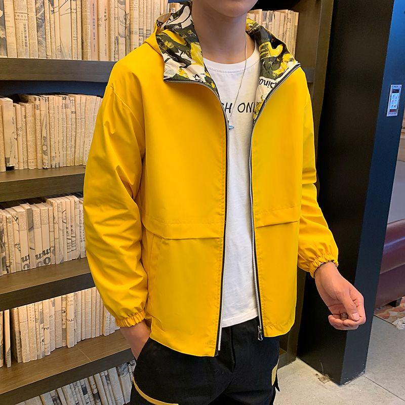 Geri dönüşümlü Ceket Erkekler Rasgele Kapşonlu Coat Erkek İlkbahar Sonbahar Erkek WINDBREAKER ceketler Katı Kamuflaj Fermuar Tur Veste Homme