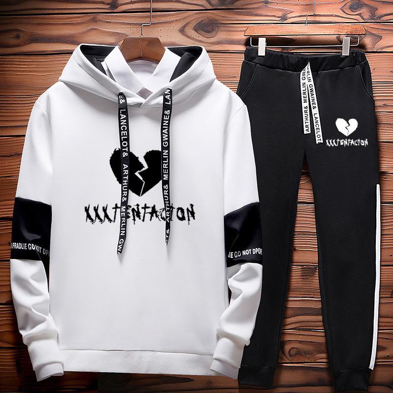 2019 осень / зима XXXTentacion месть убить хип-хоп толстовки кофты и спортивные штаны мужчины из двух частей комплект с капюшоном Velvet Y190830