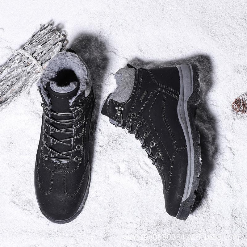 Теплые мужские сапоги зимние новые большие мужские ботинки снега бархат мягкий высокий топ хлопок обувь водонепроницаемый нескользящей короткие классические