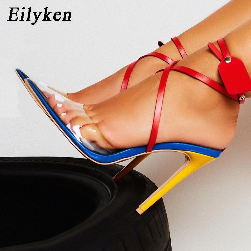 EilyKen мода лето ПВХ прозрачность острым носом женщины насосы высокие каблуки заклепки лодыжки ремень Женская обувь сексуальные насосы сандалии