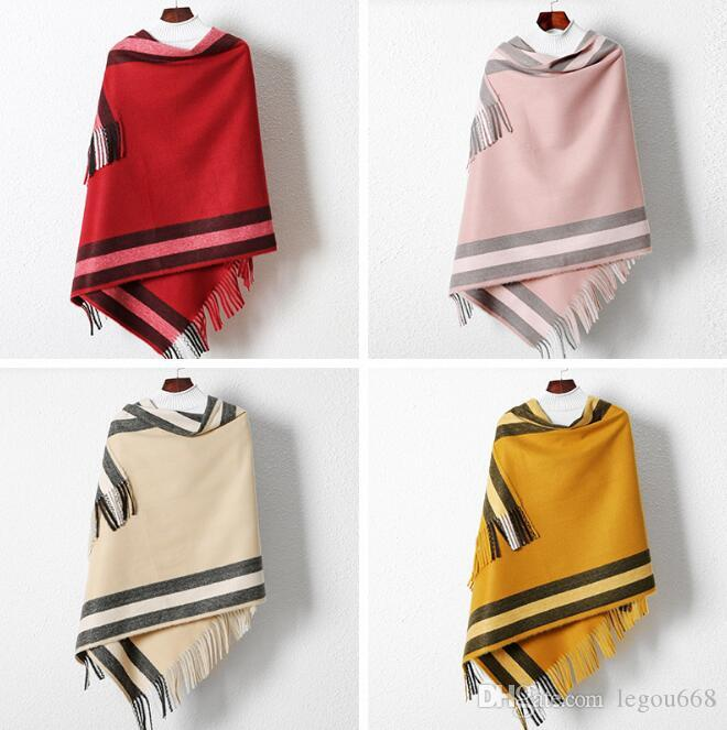 2019 nuevo otoño y el invierno de la cachemira de imitación señoras bufanda larga a prueba de viento caliente borla mantón de GB1316