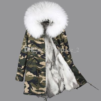 Sıcak kat beyaz tilki kürkü Döşeme maomaokong marka gri beyaz rex tavşan kürk astarlı kadın X-Uzun Kamuflaj kabuğu'nun ceketler kış ABD Almanya