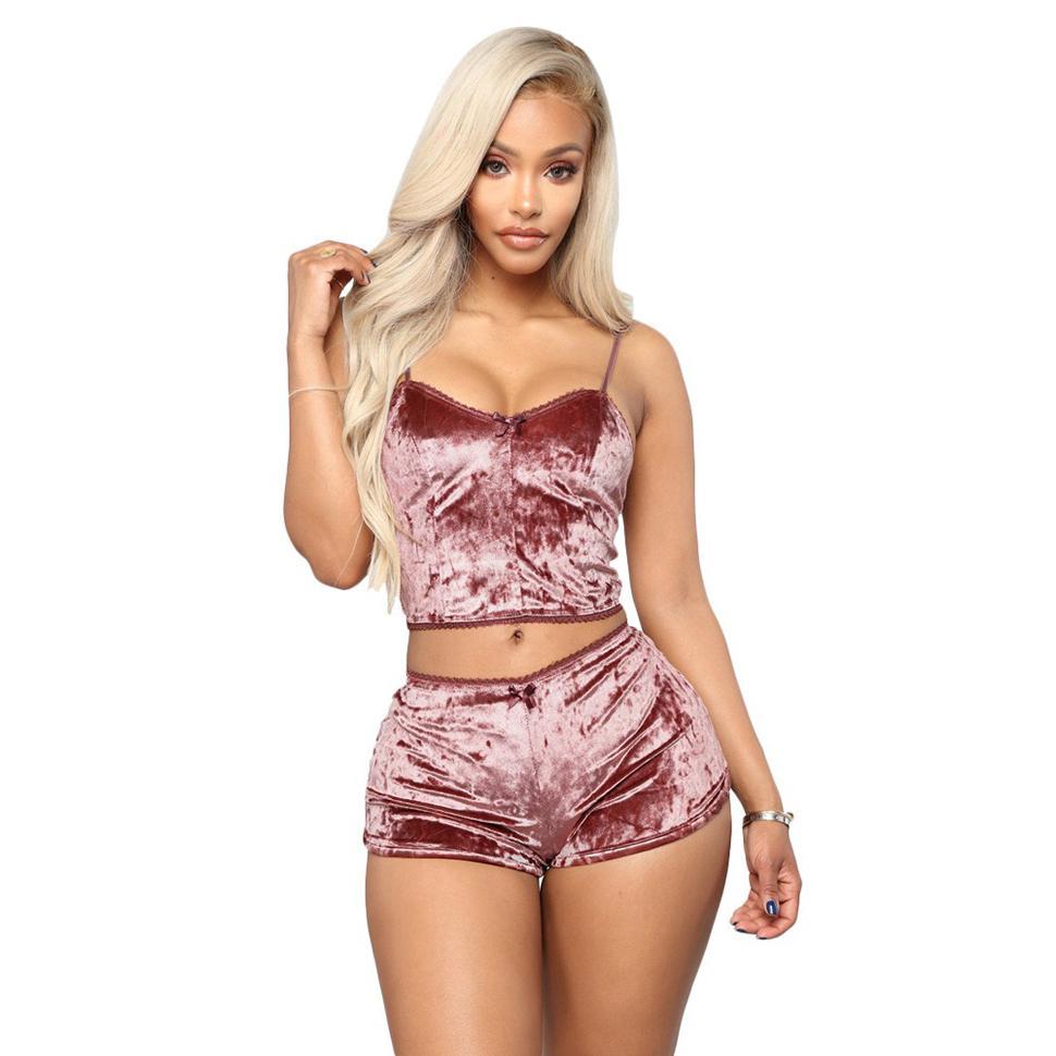 Hot Women 2 piece Set Velvet Sleepwear Sexy Spaghetti Strap Shorts Pajamas Suit Ladies Casual Sleepwear Female Pajama Party Set