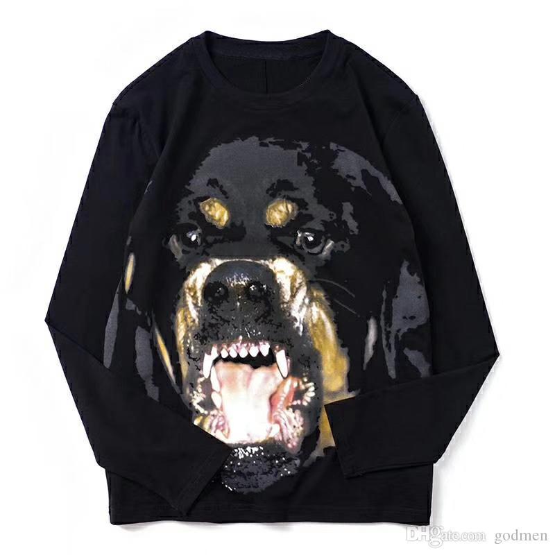 남성 스타일리스트 긴 소매 T 셔츠 패션 높은 품질 남성 여성 동물 T 셔츠 남성 티셔츠 블랙 크기 S-2XL를 인쇄