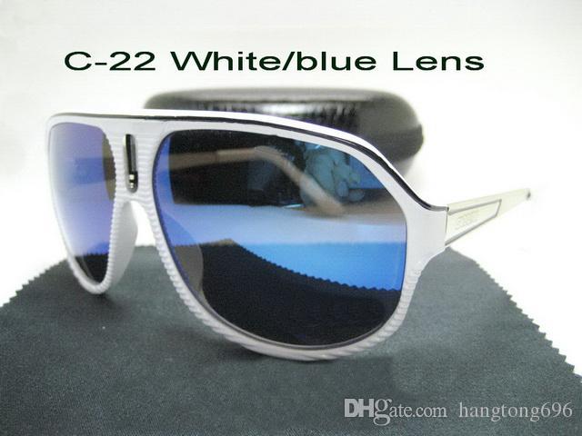 C-22 # Mode Hommes Lunettes de soleil pour homme femme Protection UV Lunettes de soleil en plein air Sport Lunettes de soleil rétro avec boîte et étui