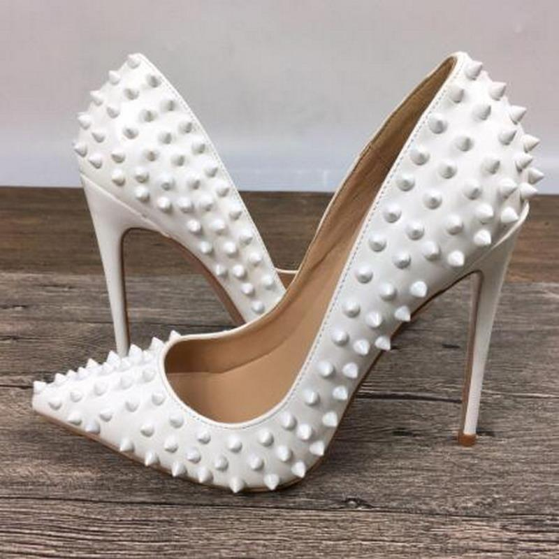 White Rivet PU Leather Red High Heels Patent Brand Needle Spiked Shallow Mouth Pointy Toes Pumps Bottom Dress Shoes wave 8cm 10 cm 12cm
