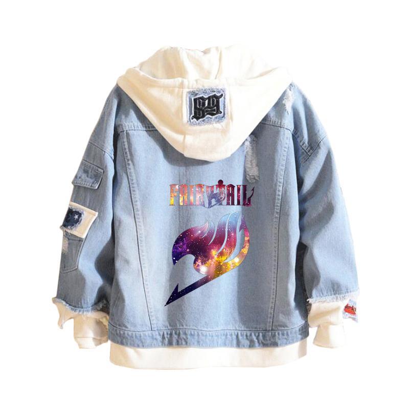 Automne et Hiver hommes Denim Femme Veste 2020 Vintage Harajuku Fée sweat à capuche Tail Anime Femme Jeans Manteau nouveau