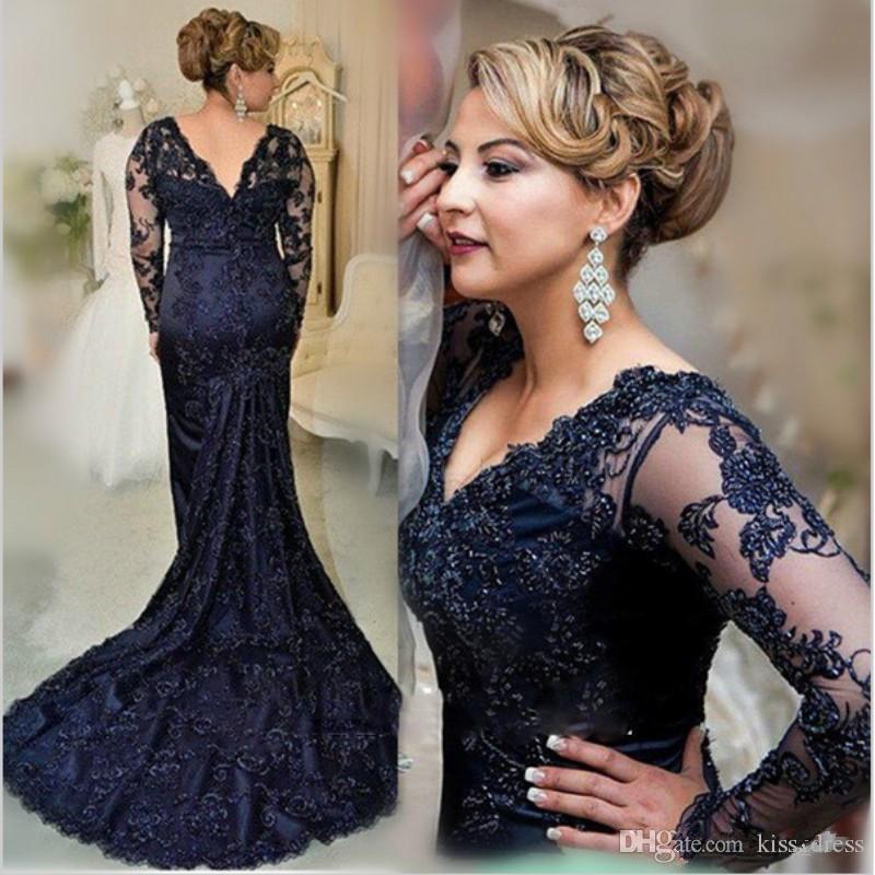 Navy Blue Lace Mutter der Braut Kleider 2019 Neue elegante V-Ausschnitt Langarm Meerjungfrau Mutter des Bräutigams Hochzeitsgast Kleider M63
