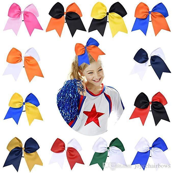 "12pcs frete grátis 8"" Grande Titular elogio arcos de cabelo rabo de cavalo elástico Handmade para Cheerleading meninas adolescentes Esportes universitários"