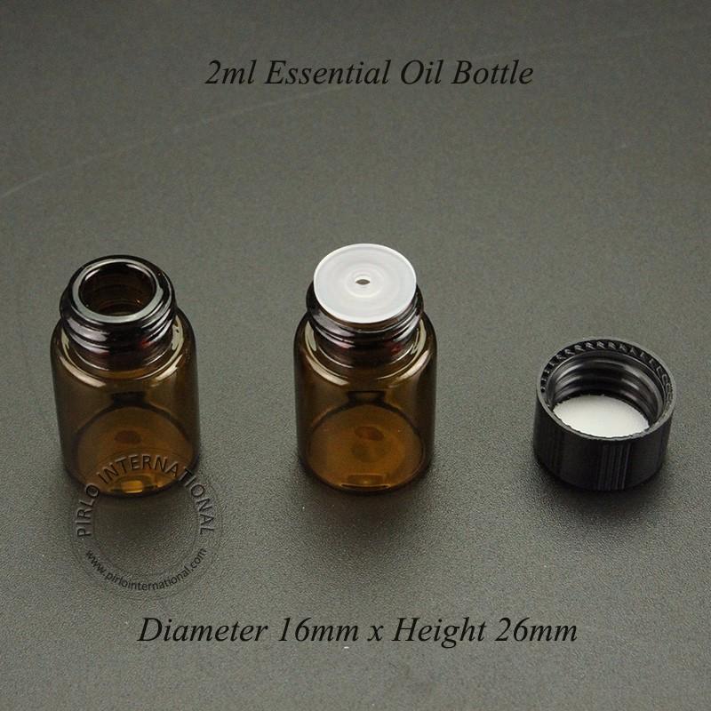 50 x botella de perfume de alta calidad de 2 ml Mini Ámbar 2cc vaciar la muestra 16mm Vial Pr x 26 mm Material de vidrio de aceite esencial