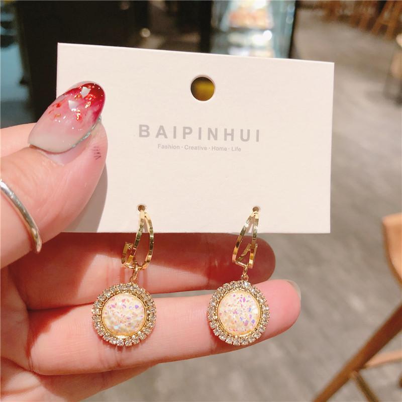 Korean Fashion Galvanik einfache glänzende Keramik Ornamente Ohrringe Modeschmuck kleine Luxus Vintage indische Ohrringe