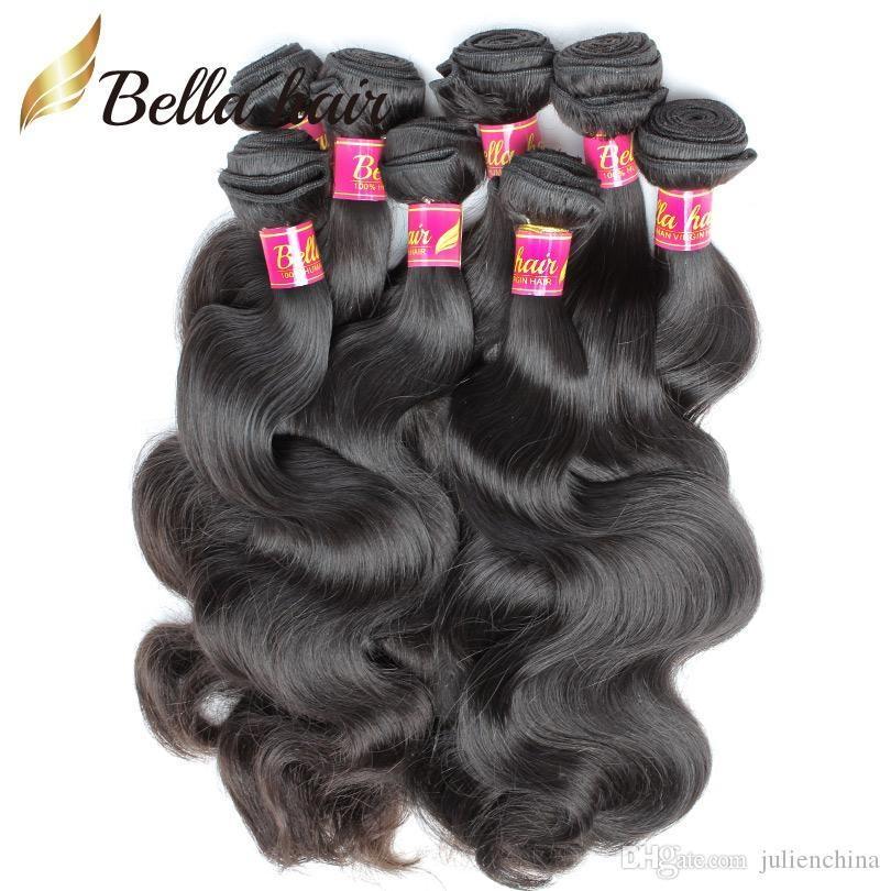 Longueur de mélange 8-30 Virgin Péruvien Human Hair Weave 4PCS / Lot Extensions d'onde corporelle Bella Bundles