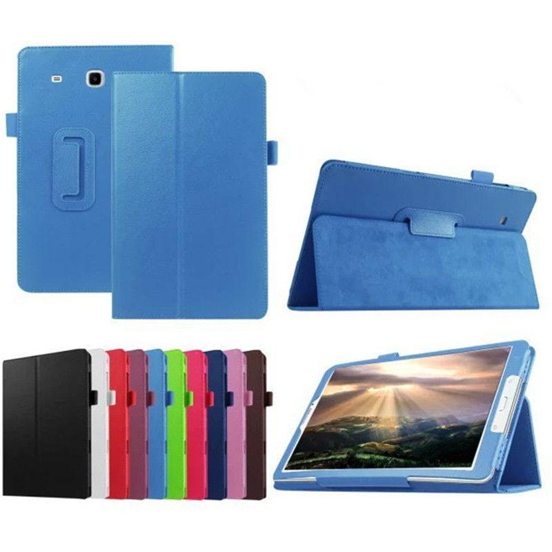Folio-Leder-Standplatz-Fall-intelligente Abdeckung für Samsung Galaxy Tab T560 Displayschutz C0 Tabket Ständer Cases Silikon-harte PU-Stoß-