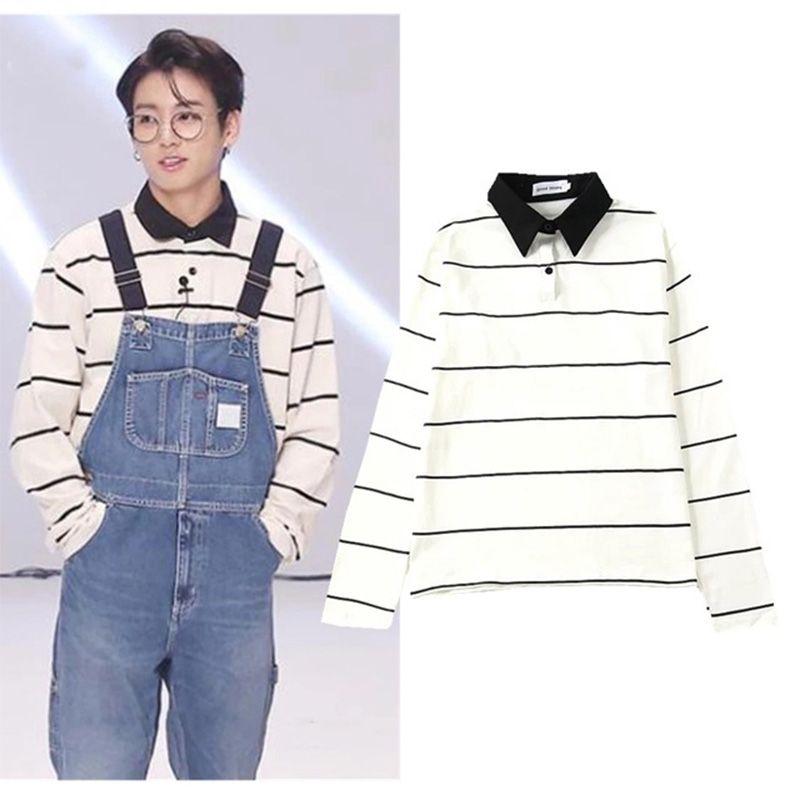 Kpop Bangtan Boys JUNGKOOK V aynı Bölüm Gömlek Unisex Koreli öğrenciler Gevşek Boyfriend Ulzzang Stripped Uzun Kollu Suit
