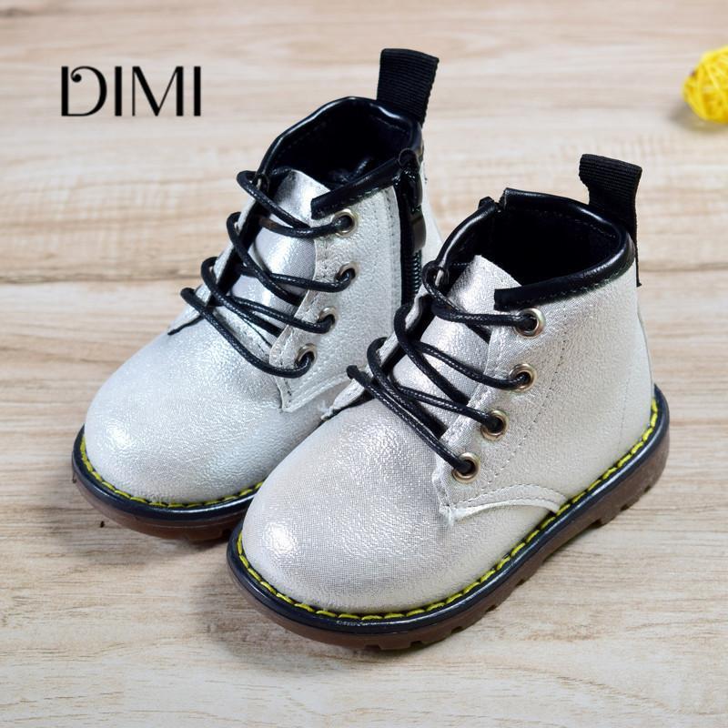 2018 novo outono de couro meninos meninas criança para crianças lace-up antiderrapante botas de moda infantil à prova d 'água y190525