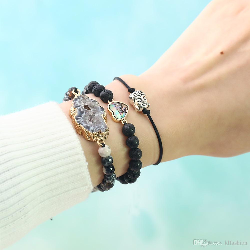 Nueva 6mm pulsera con cuentas de piedra de lava para la joyería Hombres Mujeres trenzada a mano natural de Shell del olmo transversal redonda del corazón encanto de la pulsera