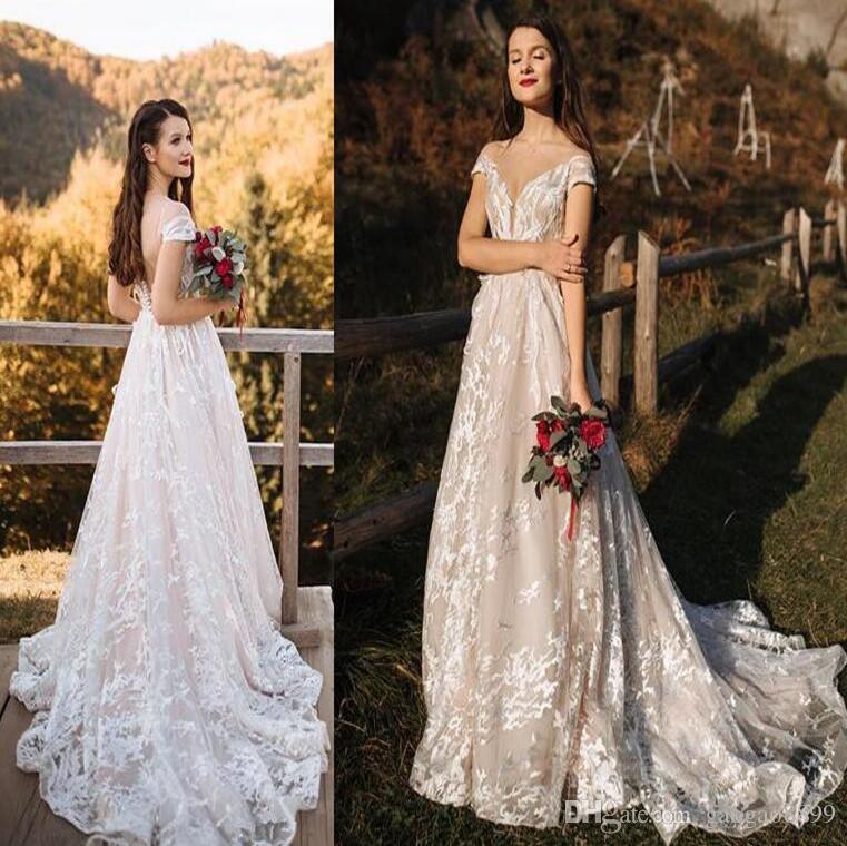 2019 gorgeous 3D Foral Lace country boho plus size long Wedding Dresses bohemia Bridal Gowns custom made vintage cheap vestidos de novia