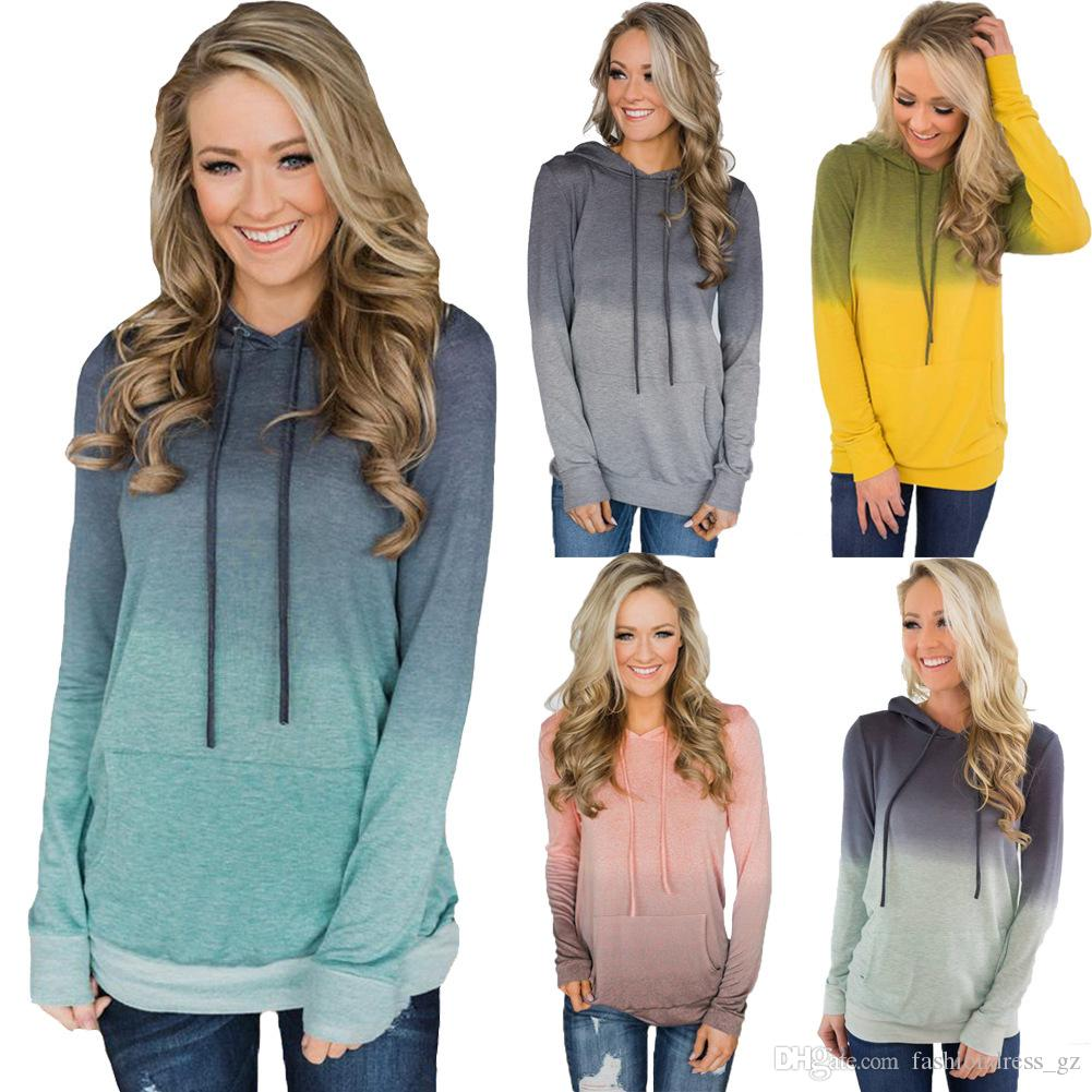 Women Hoodies Long Sleeve Pullover Casual Soft light weight Patchwork hoodie comfortable ladies wear gradient color Sweatshirt with Pockets