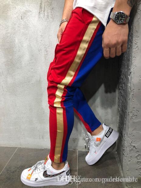 Männer S Designer Hosen Muscle Brüder Color Matching Hip Hop Kleine Füße der Männer Tether Lässige Jogginghose