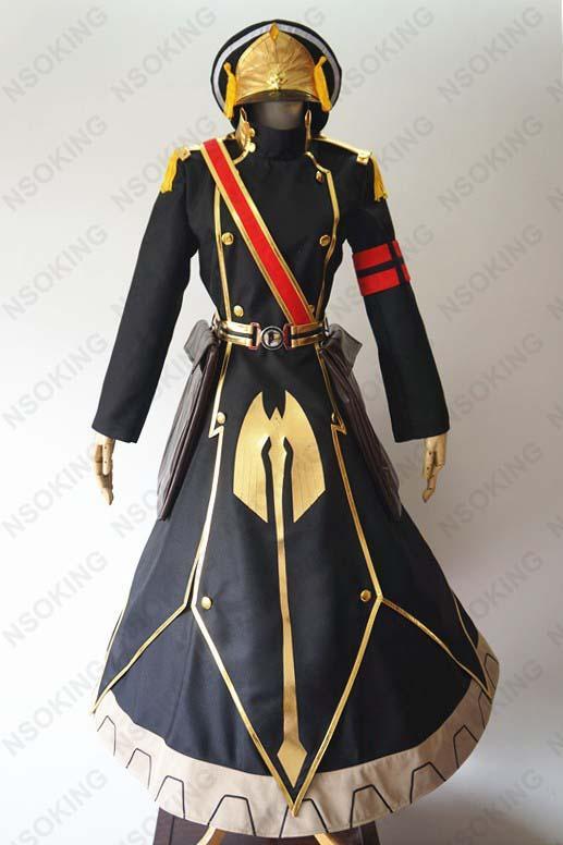 Anime Re: Creatori Costume Gunpuku senza Himegimi Cosplay Distintivo + Bag + Belt + Coat + Dress + Gloves + Cappello Costume Hallween completa Imposta costume cosplay Outfit