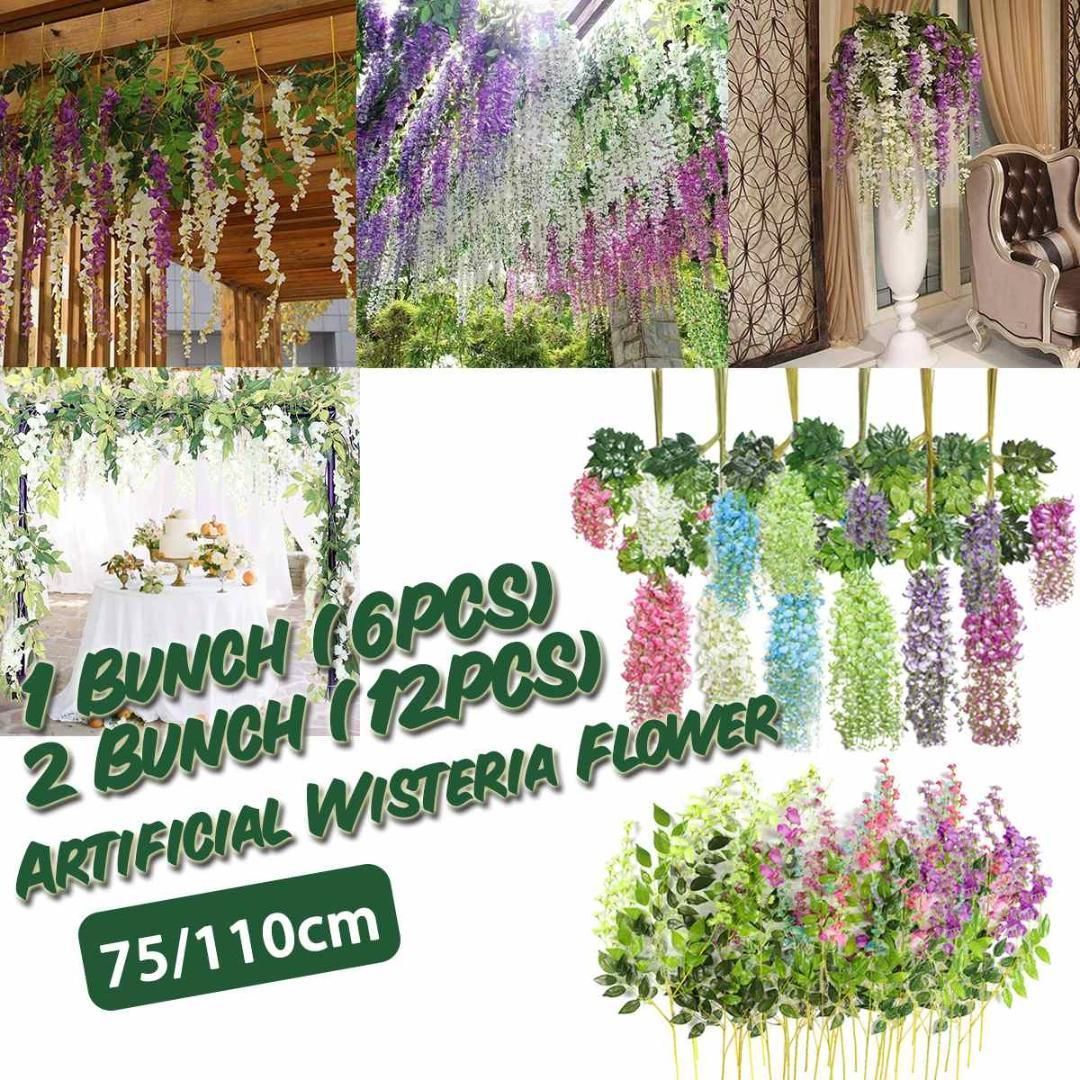 6/12pcs Flowers Bunch Artificial Wisteria Rose Hanging Flower Vine Silk Flower String Home Wedding Party Decor Plant Natural