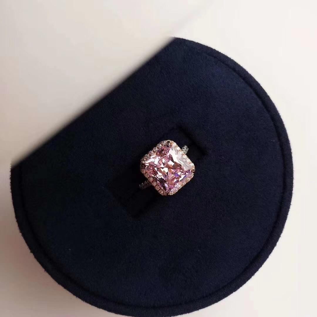 Manera- 2020 S925 plateado anillo de plata de plata anillo de diamantes mujer chapado en diamante rosa anillo de diamantes de 18 quilates de oro semicírculo