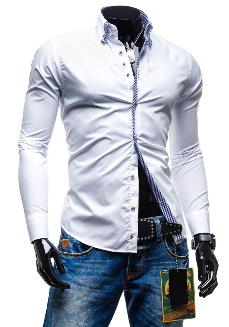 Vestido Mens Designer T-shirts Plaid saco Borda manga comprida negócio camisetas Mens Causal Mais de Tops Tamanho