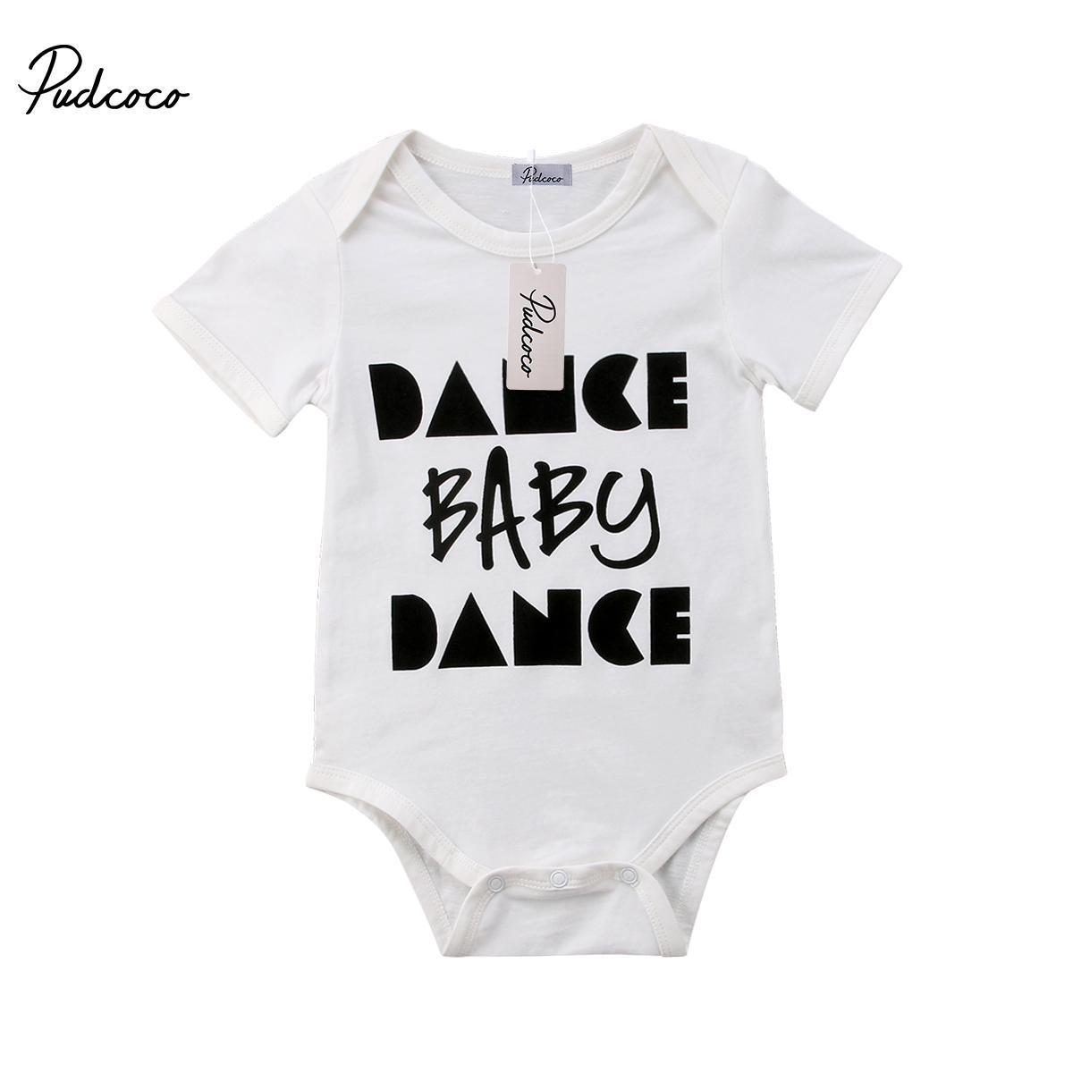 2018 Moda recién nacido del niño infantil del bebé de la danza de la letra muchachos de las niñas mono del mameluco Trajes Ropa 0-24 M