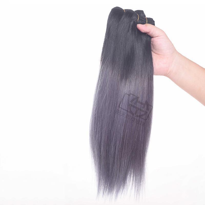 Ombre droite brésilienne Cheveux 1B gris foncé deux tons cheveux Bundles Péruvien Brésil indien Droit Hair Extensions