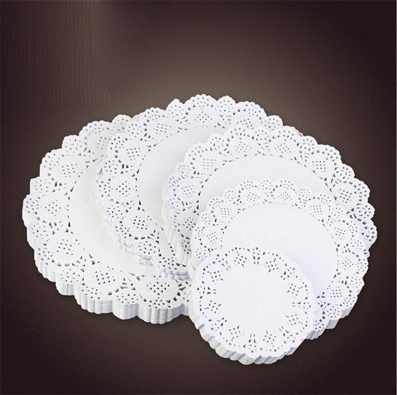 160Pcs/lot Lace Round or Oval White Paper Cake Placemat Vintage Coasters Wedding Party Christmas Table Decoration Baking Tools free shipping