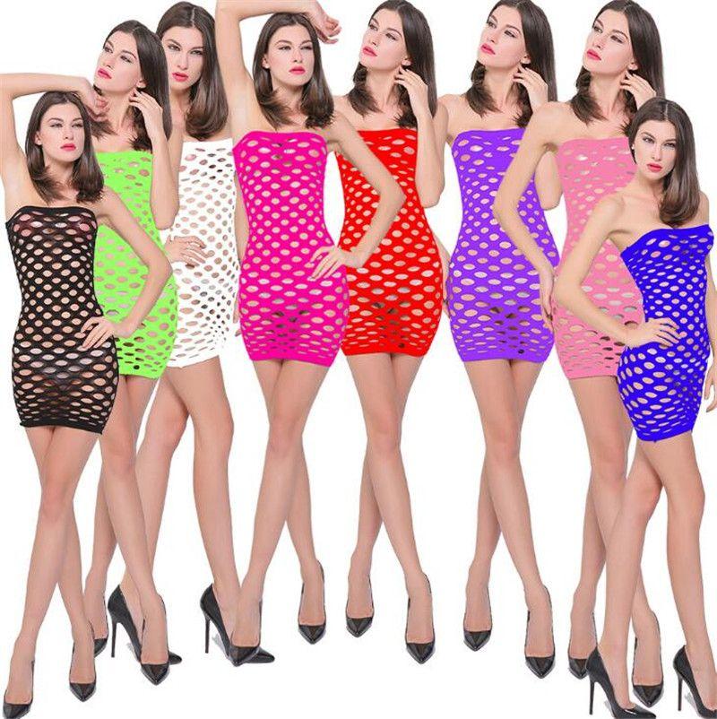 Yeni Bayan Straplez Naylon Fishnet Chemise Pijama Lingerie Nighties Kadınlar Için Mini Elbise Etekler Bir Boyut Seksi Örgü Bebek Bebek Elbise