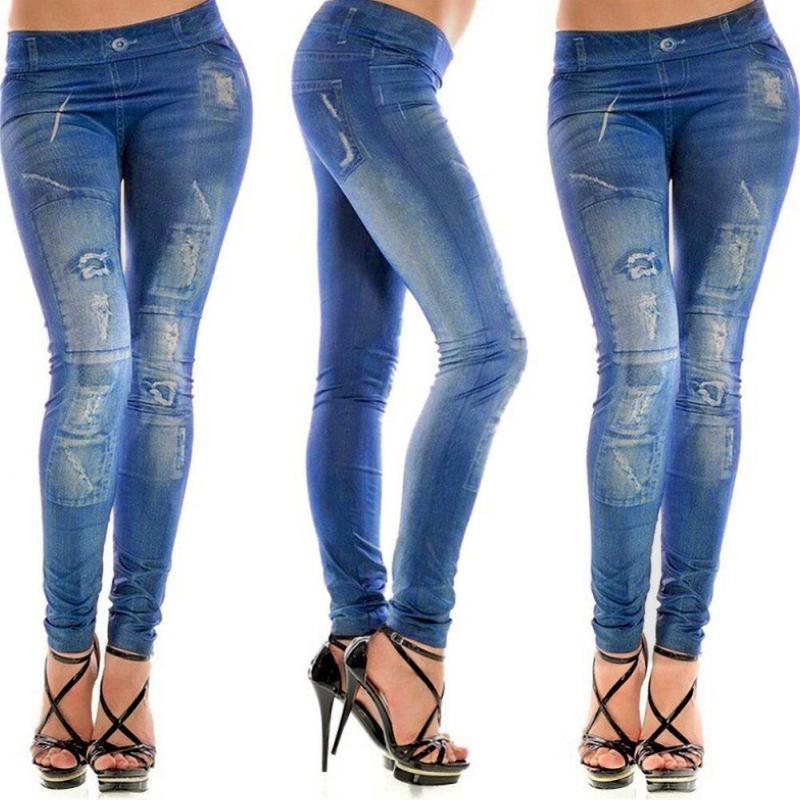 2019 venta caliente muchachas de la manera elegante de la moda de Nueva gris Faux Denim Jean igual que las mujeres de las polainas tela suave Pantalones MSJ99